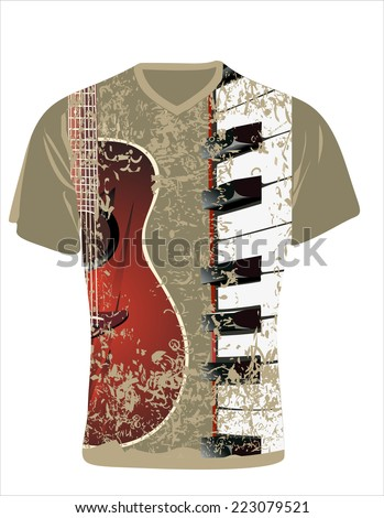Men's t-shirt design template. Guitar and piano - stock photo
