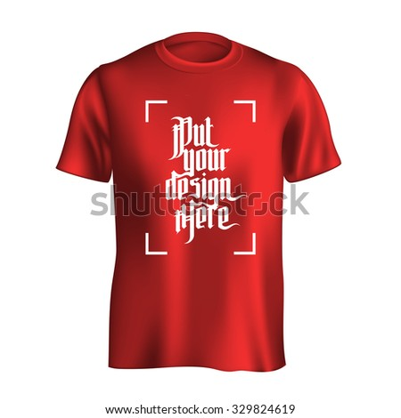 Men's t-shirt design template. Red mockup isolated on white background - stock photo