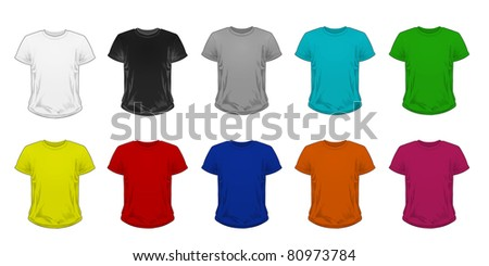 Men's T-shirt template different color - stock photo