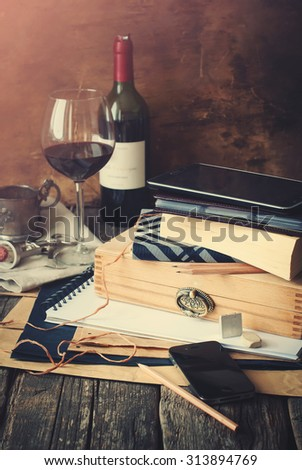 Men's Things with Different Accessories on home wooden table, toned - stock photo