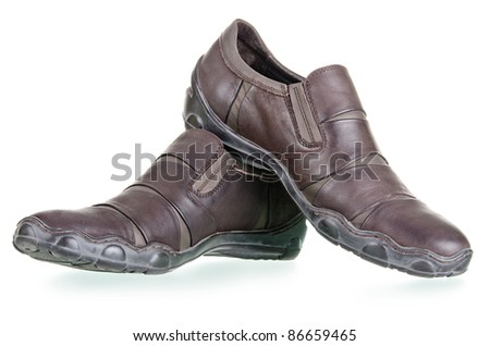 Men's walking shoes with clipping path on a white background