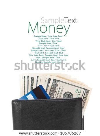 men's wallet with dollars and credit cards with sample text - stock photo