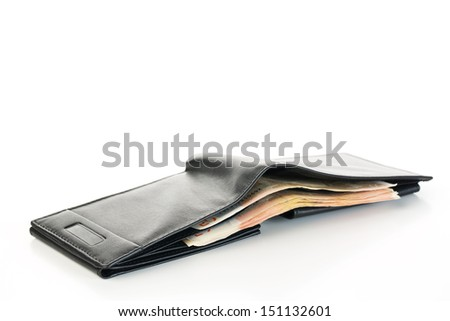 Men's wallet with Euro bills inside. Photographed over a white background.
