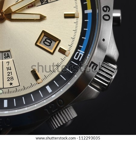 Men's watch chronograph close up - stock photo
