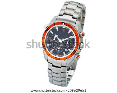 Men's watch with the metal chromeplated bracelet, classical business hours for the businessman on a white background, nobody. - stock photo