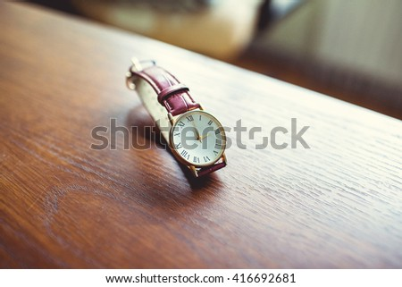 Men's watches on the table - stock photo