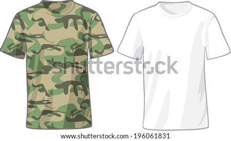 Men's White and Military Shirts front view template. Raster version - stock photo