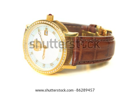 Men's wristwatch in isolation, the white background - stock photo