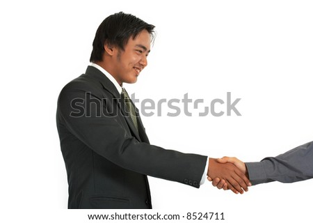 men shaking hands over a white background - stock photo