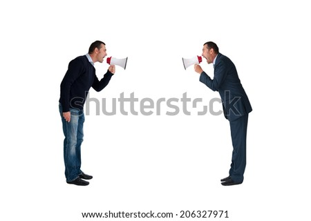 men shouting with megaphones isolated on white background - stock photo