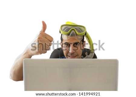 men showing a thumbs up when achieved a great deal for your holiday - stock photo