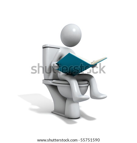 Men sitting at the toilet bowl. There is a book in his hand. Three-dimensional,  isolated on white.