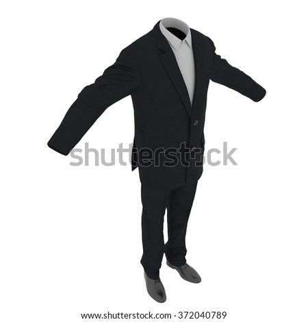 Men Suit Isolated on White Background