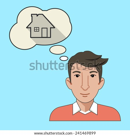 Men Thinking About New House Flat Line Icon - stock photo