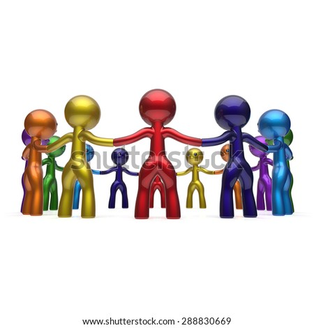 Men together circle chain social network people characters worldwide large group human resources teamwork friendship individuality team different cartoon friends unity join concept. 3d render isolated - stock photo