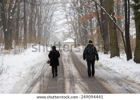 men walking in the winter park