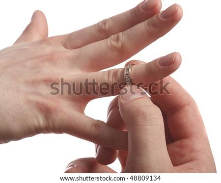 men wear the wedding ring on the finger - stock photo