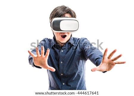Men wearing goggles, virtual reality