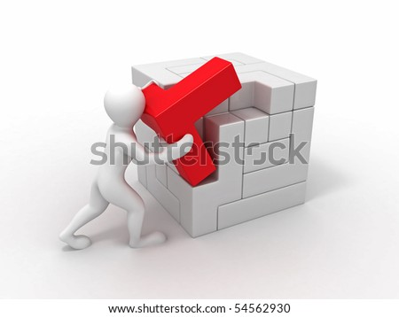 Men with a cube built from blocks. Puzzle. 3d - stock photo