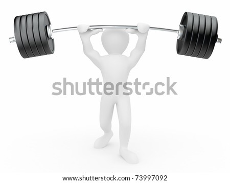 Men with barbell on white isolated background. 3d - stock photo