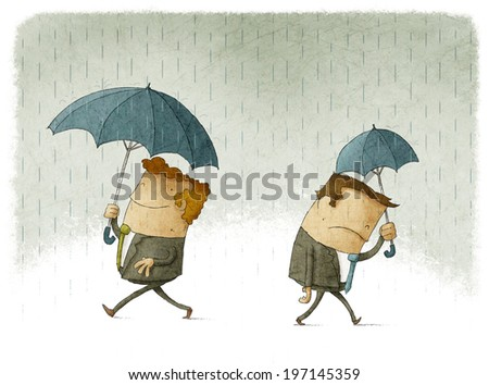 Men with big and small umbrellas, a symbol of their success and failure in business - stock photo