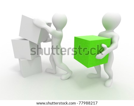 Men with boxes. Conceptual image of teamwork. 3d - stock photo