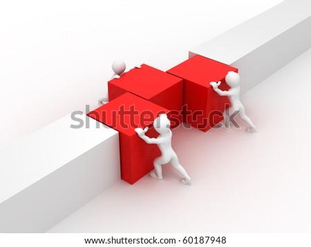 Men with cubes. Teamwork. 3d - stock photo