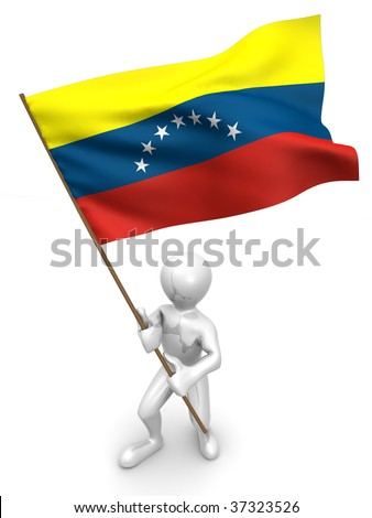 Men with flag. Venezuela 3d - stock photo