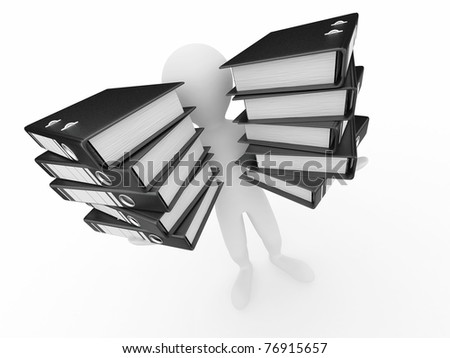 Men with folders on white isolated background. 3d - stock photo