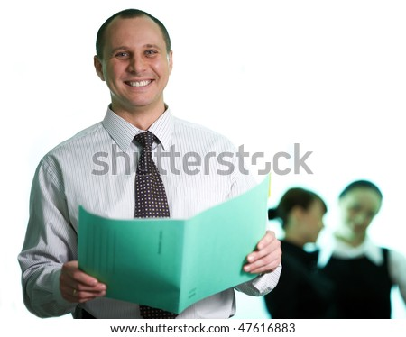 Men with green folder - stock photo