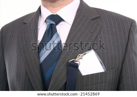 men with his id card - stock photo