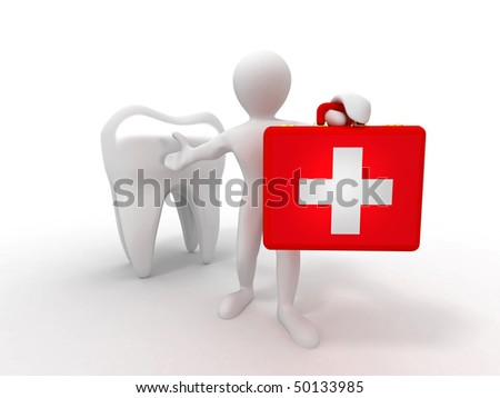 Men with medical case and tooth. Dentist. 3d - stock photo