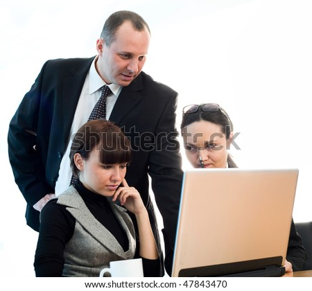 Men with nice girl and women with notebook - stock photo