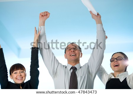 Men with paper and cheerful girl with women - stock photo