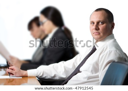 Men with pen - stock photo