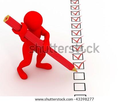 men with pen on questionnaire. 3d - stock photo