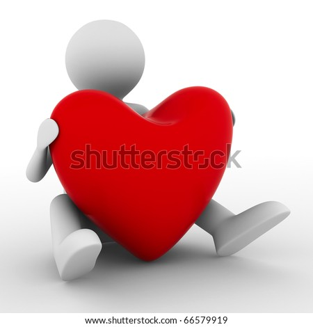 men with red heart on white. Isolated 3D image - stock photo