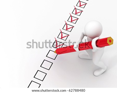 men with red pen on questionnaire. 3d - stock photo