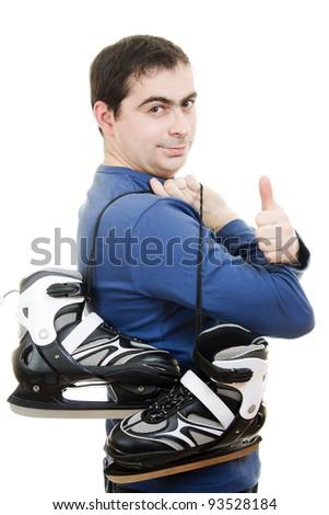 Men with skates gesture shows okay on white background. - stock photo