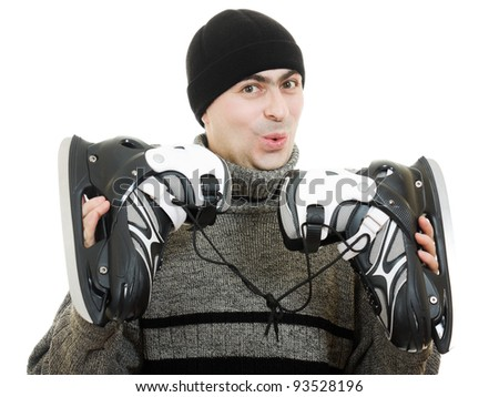 Men with skates on white background.