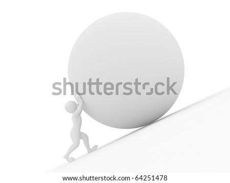 Men with sphere on white isolated background. 3d