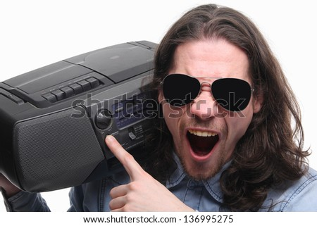 Men with sun glasses on with radio