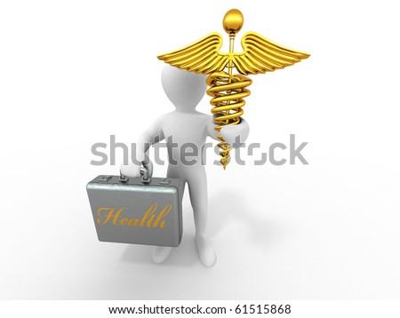 men with symbols of medicine. 3d - stock photo