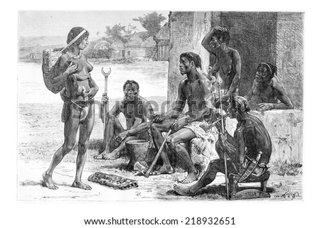 Men, Women and Tools of the Luchazes, in Angola, Southern Africa, drawing by Maillart based on the English edition, vintage illustration. Le Tour du Maonde, Travel Journal, 1881 - stock photo