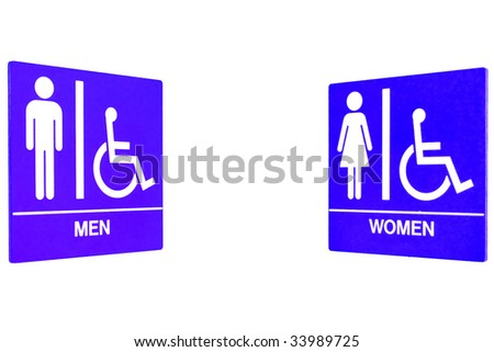 Men women restroom sign with handicap access in isolated white background