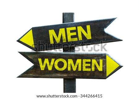 Men - Women signpost isolated on white background - stock photo