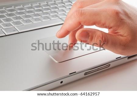 Men working at laptop - stock photo