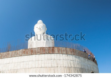 Men working Construction of Buddha in Thailand - stock photo