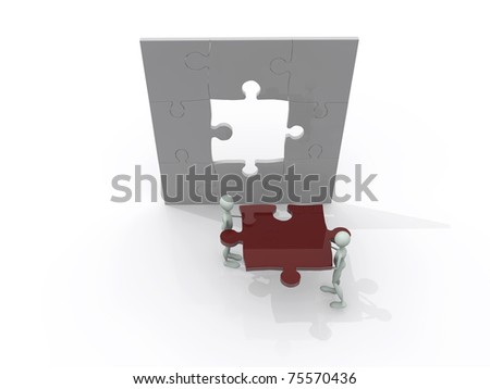 men working on a puzzle isolated on white background
