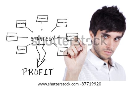 Men writing a schema at the whiteboard with ideas for a good strategy to make profit - stock photo